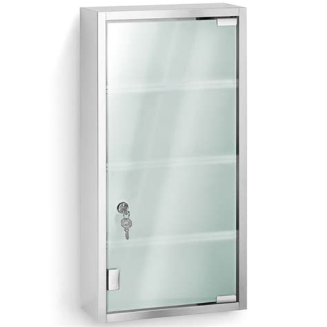 stainless steel locking medicine cabinet in bathroom