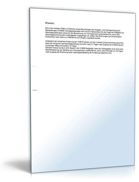 Musterbriefe Zahlungsaufforderung Mahnung Zahlungsverzug Verpflichtung Abschlagszahlung