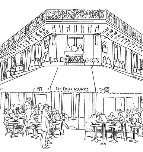 cafe congresso a parigi dibujos para colorear para adultos bar parisino 8