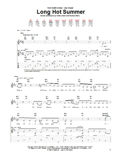 keith urban songs guitar chords keith urban long hot summer guitar tab