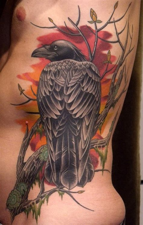cartoon tree tattoo animated raven bird and dry tree tattoo on rib side
