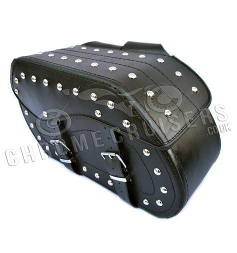 motocross leather motorcycle leather saddlebag pair c12b chrome cruisers