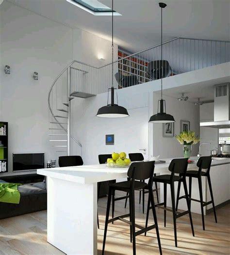 sala cocina estudio  doble altura decoracion en  cocina estudio disenos de casas