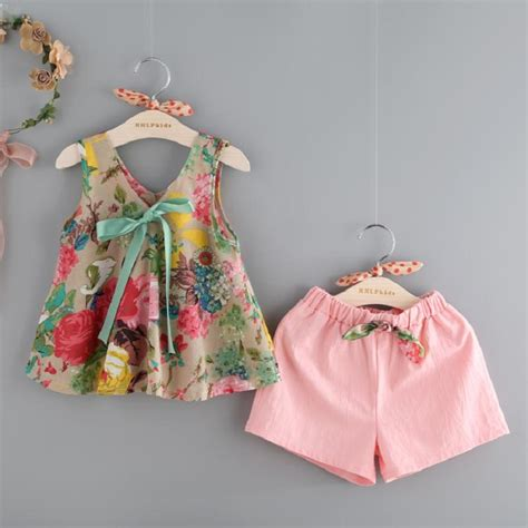 Top 7 Flower Accessories by 2017 Baby Clothing Sets Vest Shorts For Summer