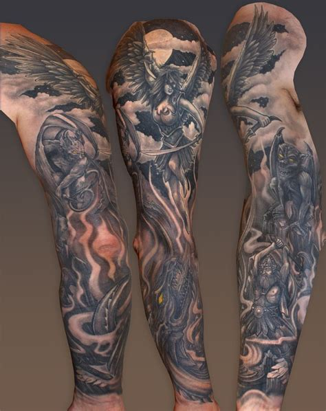 sinful skin tattoo heaven and hell are the inspiration for this black grey
