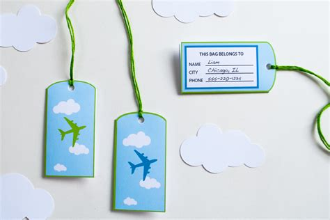 simple printable luggage tags printable airplane personalized birthday party banner for