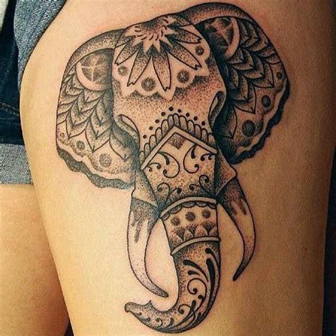 dotwork elephant tattoo dotwork peony flowers tattoo on thigh