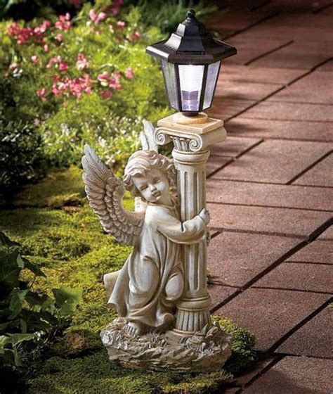 angel solar lights outdoor 19 inch pathway light angel solar garden lantern patio