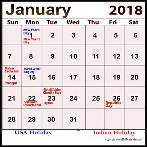 january 2018 calendar with holidays archives printable 2017 calendar