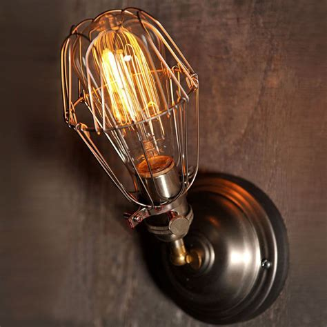 Handmade Light Bulbs - vintage wall l industrial edison bulb working cage