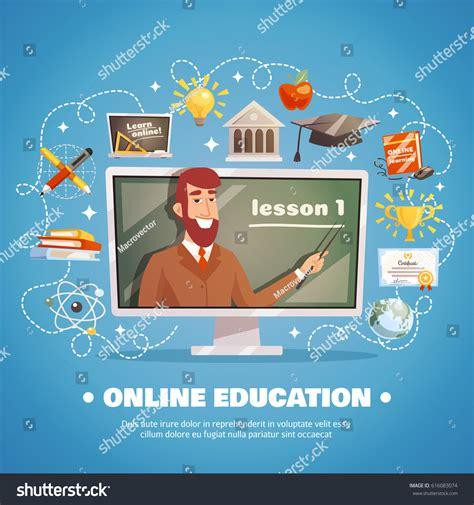 online education illustration flat design illustration online education design concept lecturer blackboard stock