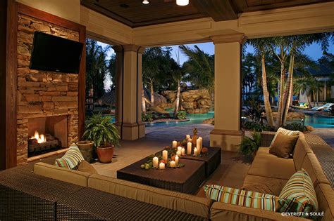 outside living room florida room designs pool tropical with outdoor fireplace