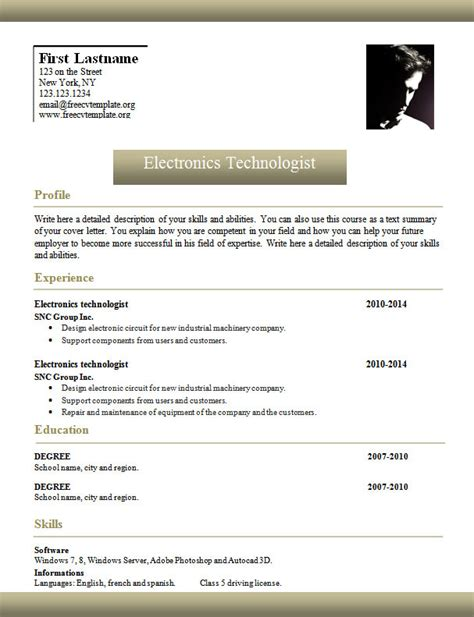 Resume Template Word With Photo Template 961 To 967 Free Cv Template Dot Org
