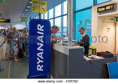 Ryanair Check In Desk by Ryanair Check In Desk Stansted Airport Stock Photo