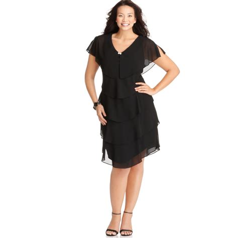 Sleeve Tiered Dress patra plus size sleeve tiered dress in black lyst