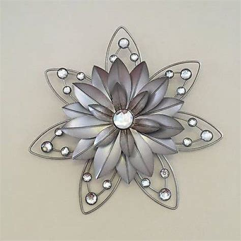 decorative floral accents wall ornament decoration for stunning rustic 30cm flower jewelled 3d metal wall art