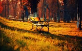 Goldener Herbst Park, Natur, Landschaft, Rasen Bank So