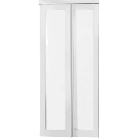 Shop Reliabilt Off White 1 Lite Frosted Glass Sliding Sliding Glass Closet Doors Lowes
