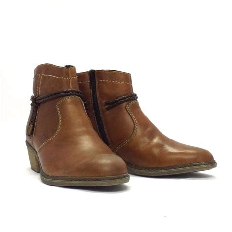 brown ankle boots rieker boot rugby brown leather ankle boot