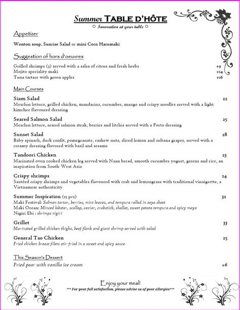 cover layout of table d hote kyomi restaurant our new table d hote menu