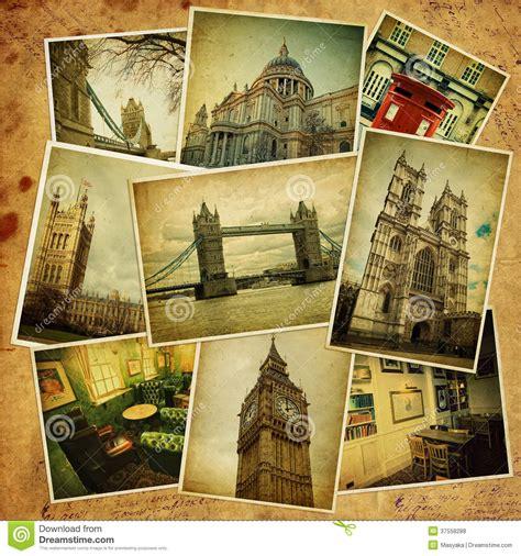 imagenes vintage londres collage del vintage viaje de londres foto de archivo