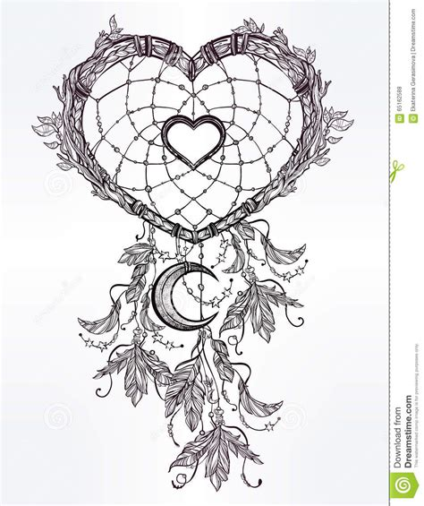 coloring pages moon dreamcatcher heart shaped dream catcher with moon stock vector
