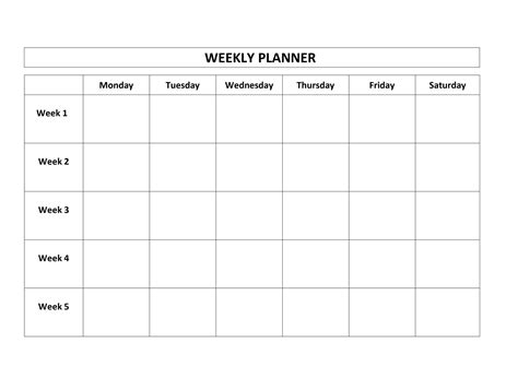 Printable 5 Day Weekly Schedule Listmachinepro Com 5 Day Schedule Template