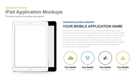 ipad application mockup powerpoint and keynote slidebazaar