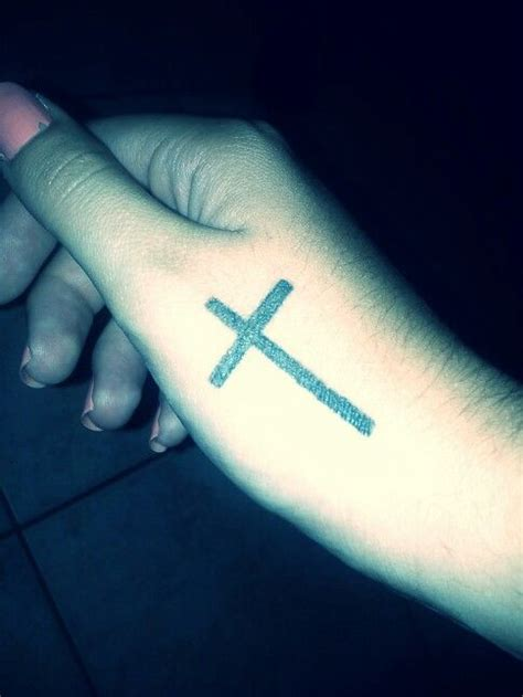cross tattoo on finger cross girly fashion religion believe tattoos