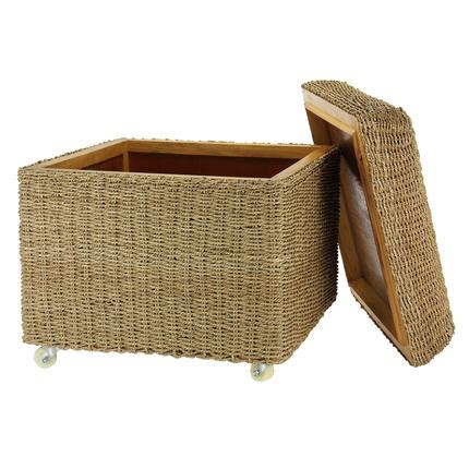 Seagrass Storage Ottoman Rolling Seagrass Wicker Storage Ottoman