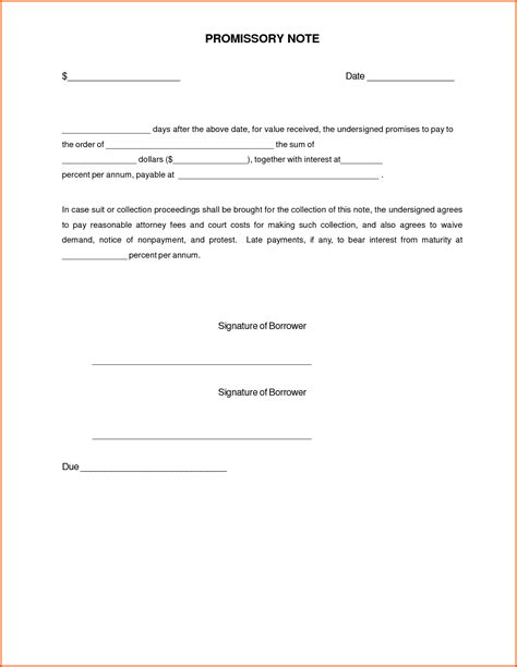 simple promissory note letter document sle vatansun