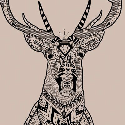 pattern drawing animals deer ink drawings and ink on pinterest