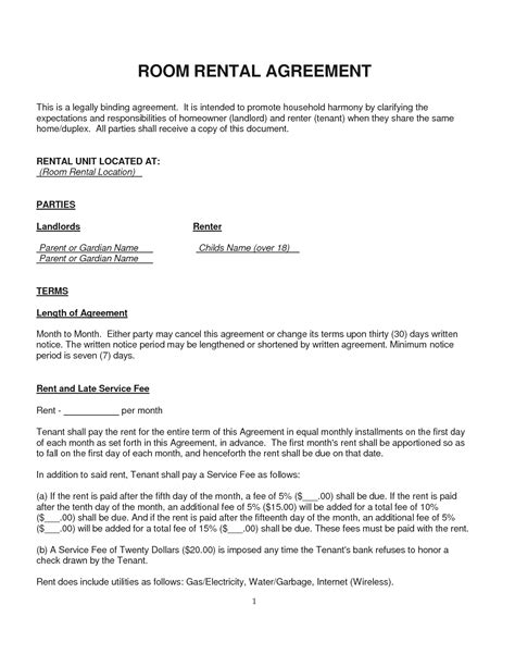 rent a room agreement template free rental lease agreement word template birthday certificate