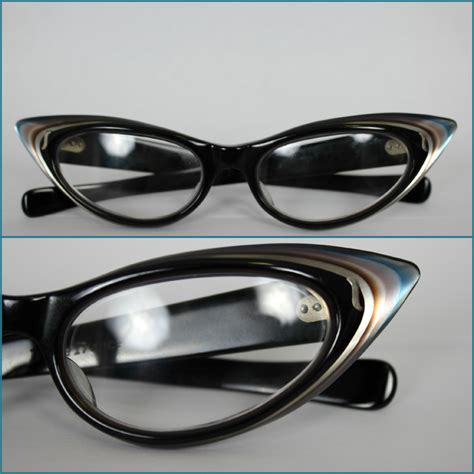 vintage 50s cat eye reading glasses multi color variegated