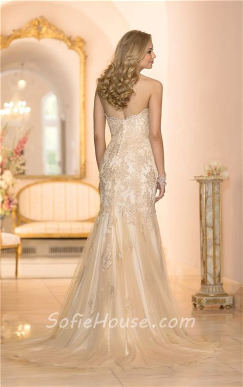 gold beaded wedding dress gorgeous mermaid sweetheart gold colored tulle lace beaded