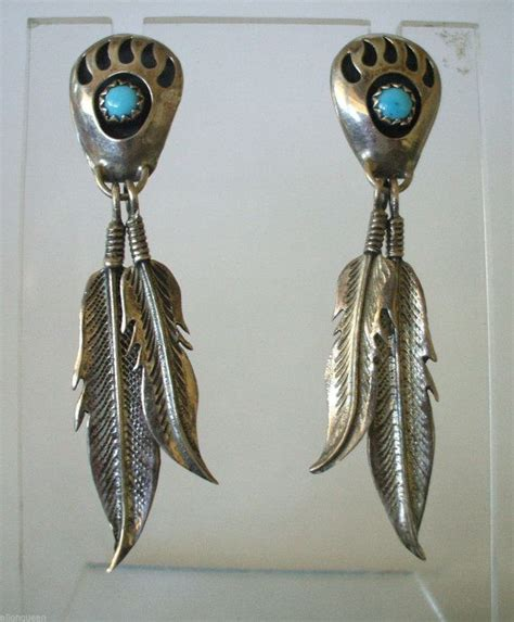 80s feather earrings vintage navajo sterling silver paw turquoise petit point earring