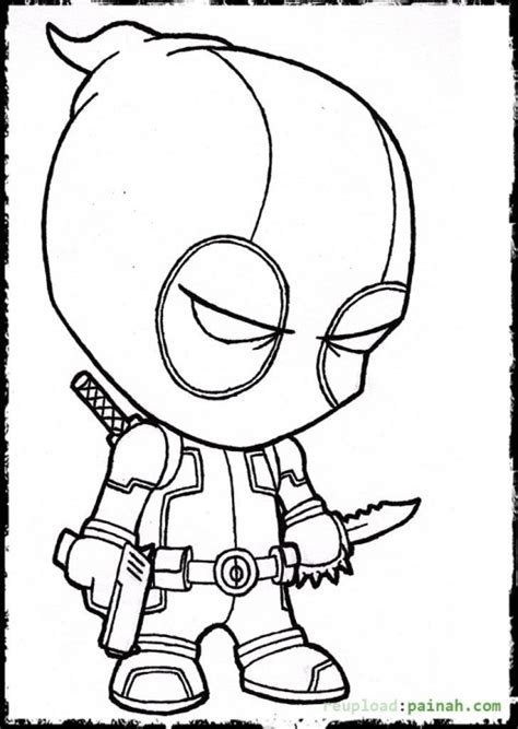 cute deadpool coloring pages deadpool cartoon coloring page colowing pinterest
