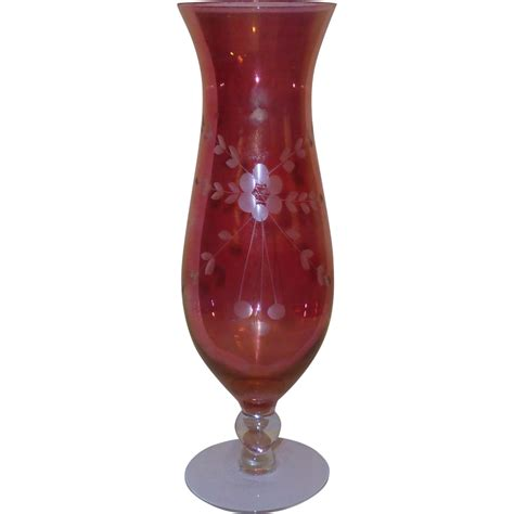 Chagne Hurricane Vase by Flash Etched Floral And Leaf Glass Hurricane Vase From