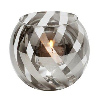 Thin Candle Holders Charcoal Ribbon Glass Tea Light Candle Holders Set Of 2