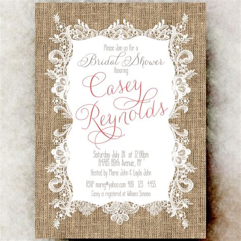 printable wedding evening invitations burlap lace bridal shower invitation coral bridal shower