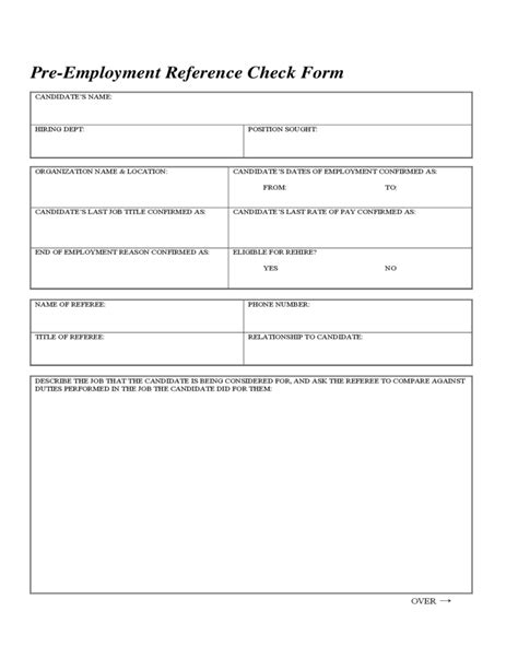 employment reference check form template pre employment reference check form free