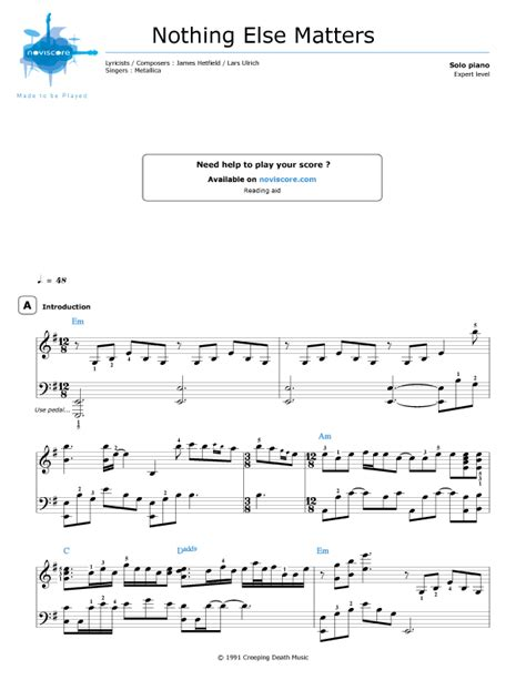nothing else matters gitarre free piano sheet nothing else matters metallica