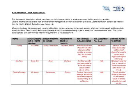 shop risk assessment template shop risk assessment template advertising risk assessment form