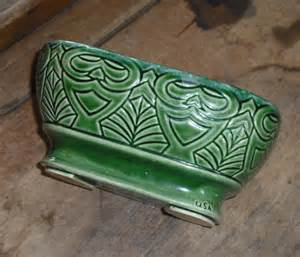 Ceramic Rectangular Vase Vintage Usa Pottery Green Planter Vase Bowl Owl Design Art