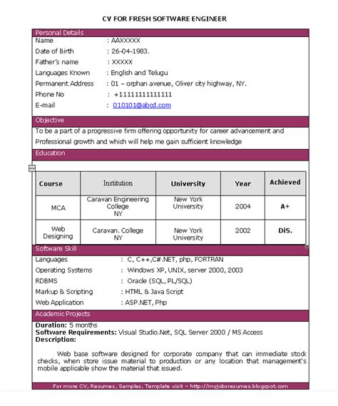 Sample Resumes For Freshers Engineers free resume samples for jobs software engineer resumes for freshers