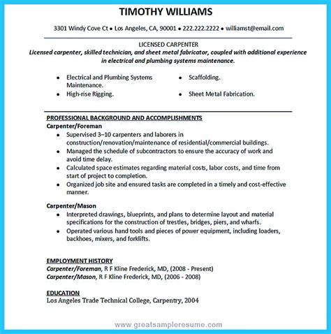 carpenter resume sles tips you wish you knew to make the best carpenter resume