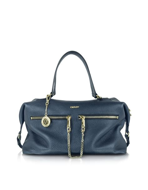 dkny grafter blue leather dkny tribeca large navy blue leather satchel in blue lyst