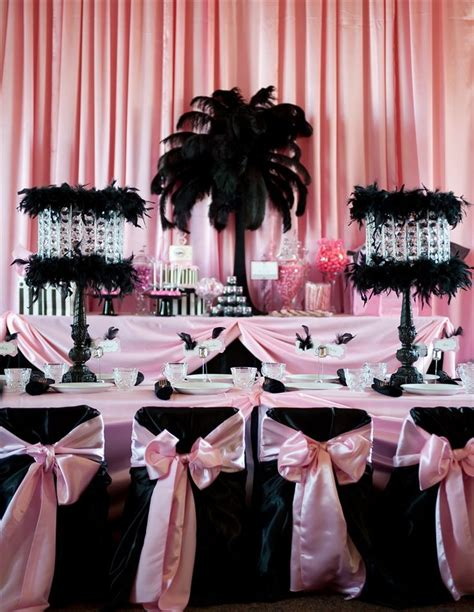 pink and black bridal shower decorations inspiration a birthdays pink black and centerpieces