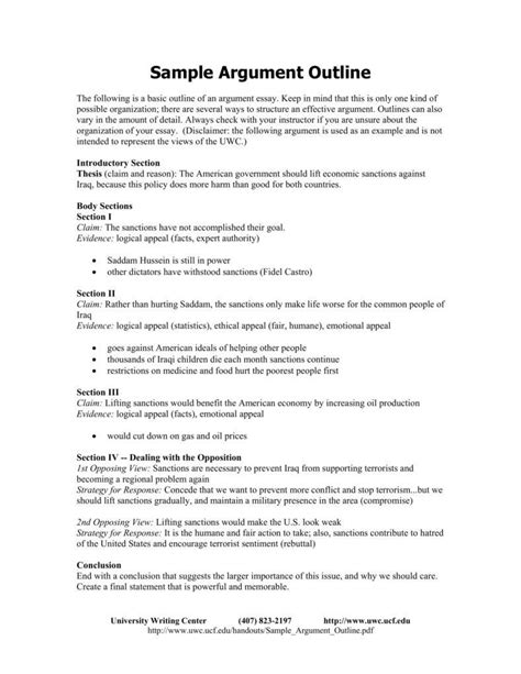 persuasive essay outline template 9 argumentative essay outline templates pdf free