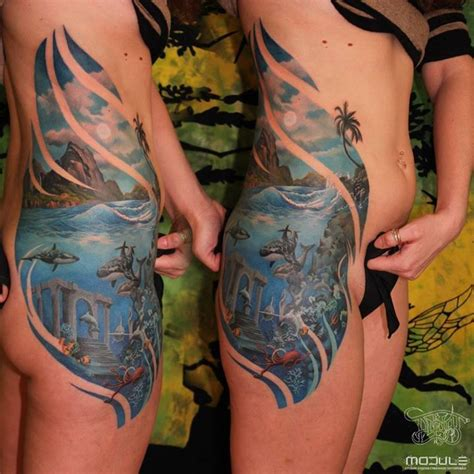 underwater sleeve tattoo designs paradisiacal island and underwater view by rinat